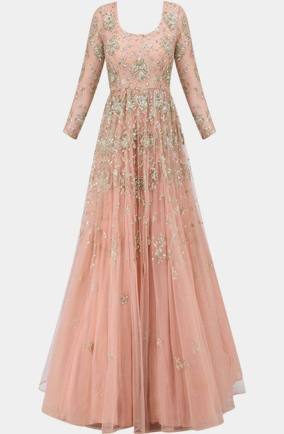 21cf07819cc64 Peach Net hand Embroidered gown Bridal Engagement Bride Indian Wear ...
