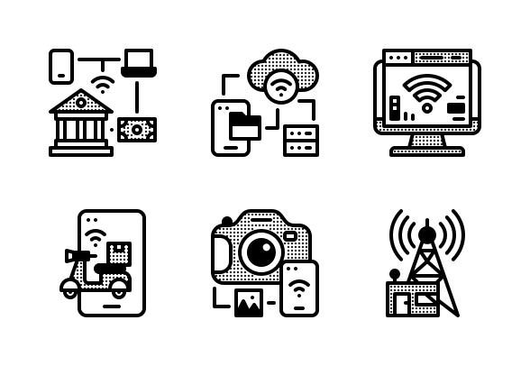 Internet Of Thing Icons By Tippawan Sookruay Iot Icon Icon Marketing Strategy Social Media
