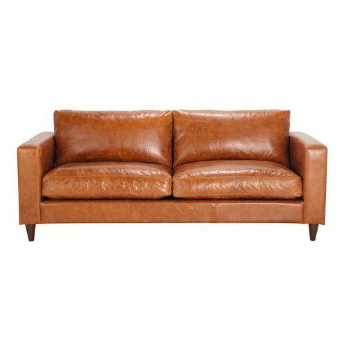 Vaste Zitbank 3 Plaatsen In Bruin Vintage Leder Henry Maisons Du Monde Vintage Sofa Zitbank Vintage