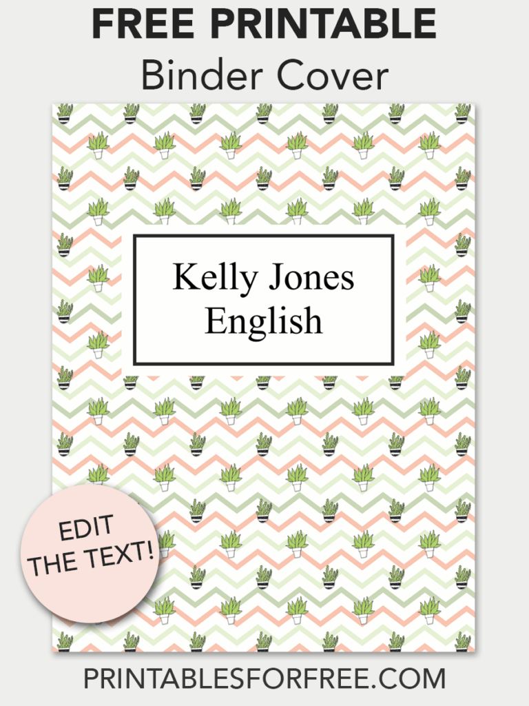 Chevron Cactus Printable Binder Cover Printables For Free Binder Covers Printable Free Printable Cards Printable Place Cards