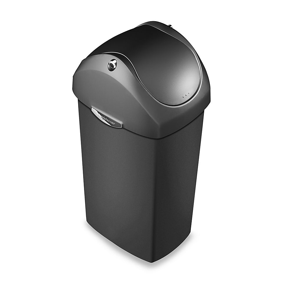 Best Simplehuman Plastic Swing Lid 60 Liter Trash Can In Grey 400 x 300