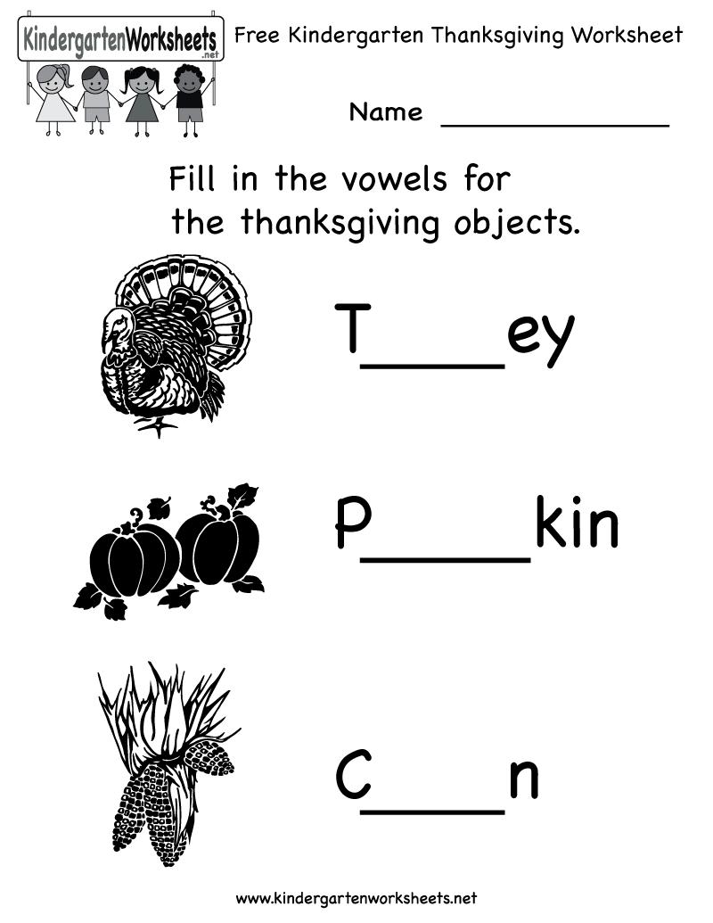 Free Printable Holiday Worksheets Kindergarten Thanksgiving