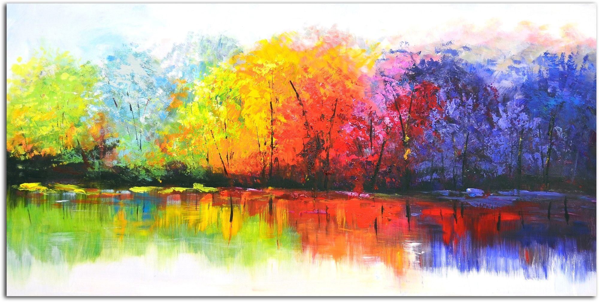 Reflective Rainbow Trees Original Painting on Canvas
