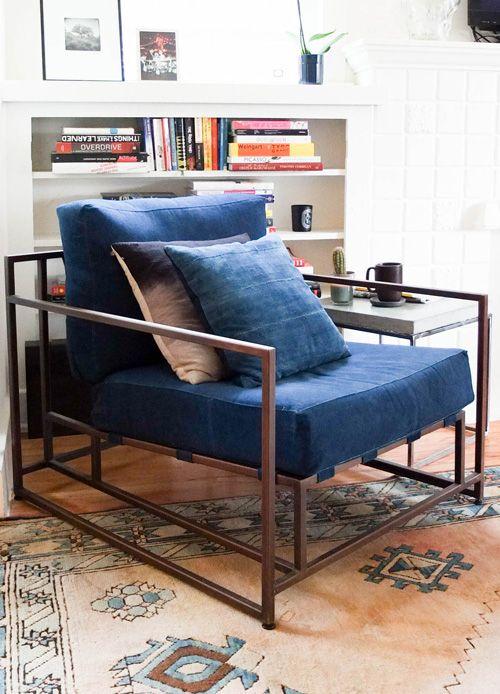 Beautiful House Visit With Daniel Corrigan: Simon Miller X Stephen Kenn Indigo Dyed  Furniture Collaboration