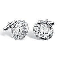 Men's Genuine Buffalo Head Nickel Cufflinks in Silvertone