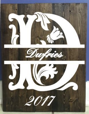 Wedding/Anniversary married couple, Split Letter wooden pallet sign, last initial, date