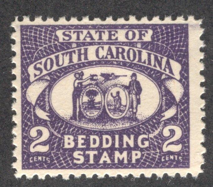 South Carolina State Revenue Bedding Inspection Stamp Srs Sc Bd1 Stamp Revenue Stamp South Carolina