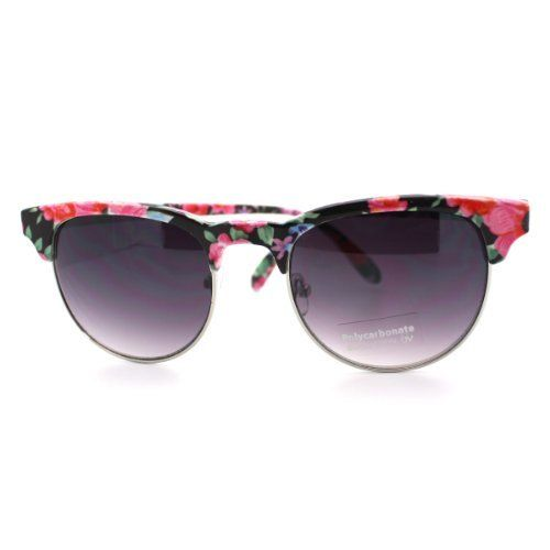 Black Floral Pattern Clubmaster Style Half Rim Sunglasses 106Shades. $9.90