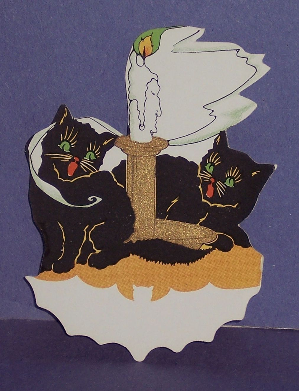 SWEET VINTAGE HALLOWEEN 2 BLACK CATS GREEN EYES PLACE CARD