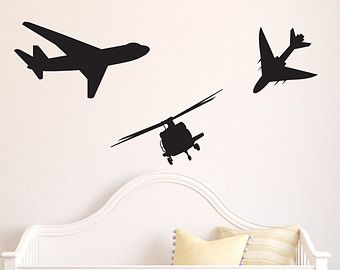 Airplanes Wall Decal - Children's Room - Home Decor - Air Planes - Jet Plane - Nursery - Baby Room - Child's Room - Gift Ideas