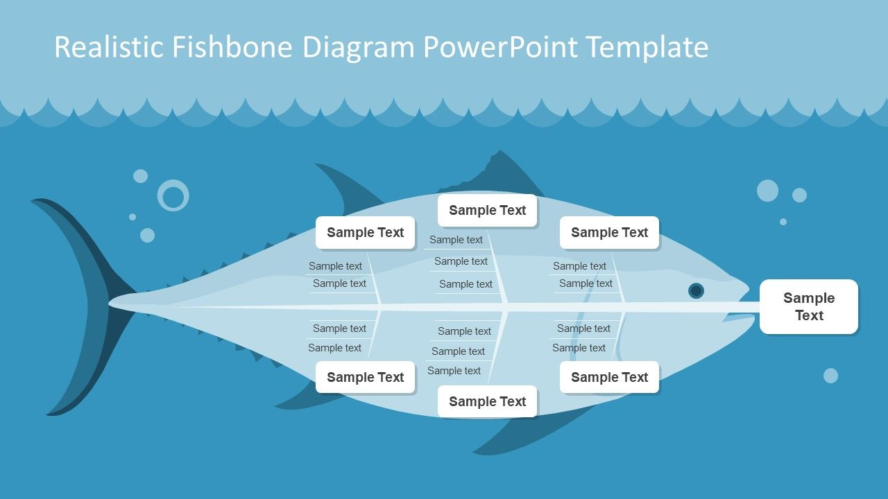 Realistic Fishbone Diagram Template For Powerpoint Slidemodel Fish Bone Powerpoint Infographic Template Powerpoint