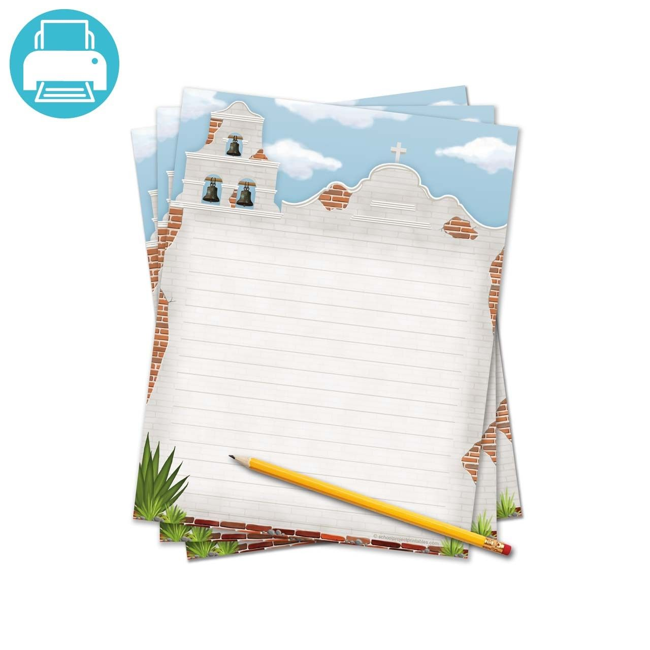 California Missions Writing Template Border Paper