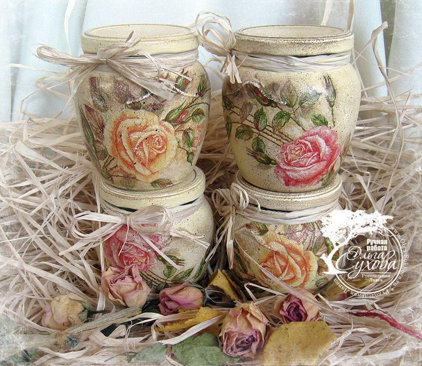 Tarros de cristal decorados con decoupage detalles hand for Tarros de cristal vintage