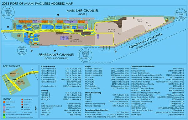 Click To Open A PDF Map Of PortMiamis Terminals And Parking - Miami cruise ship terminal