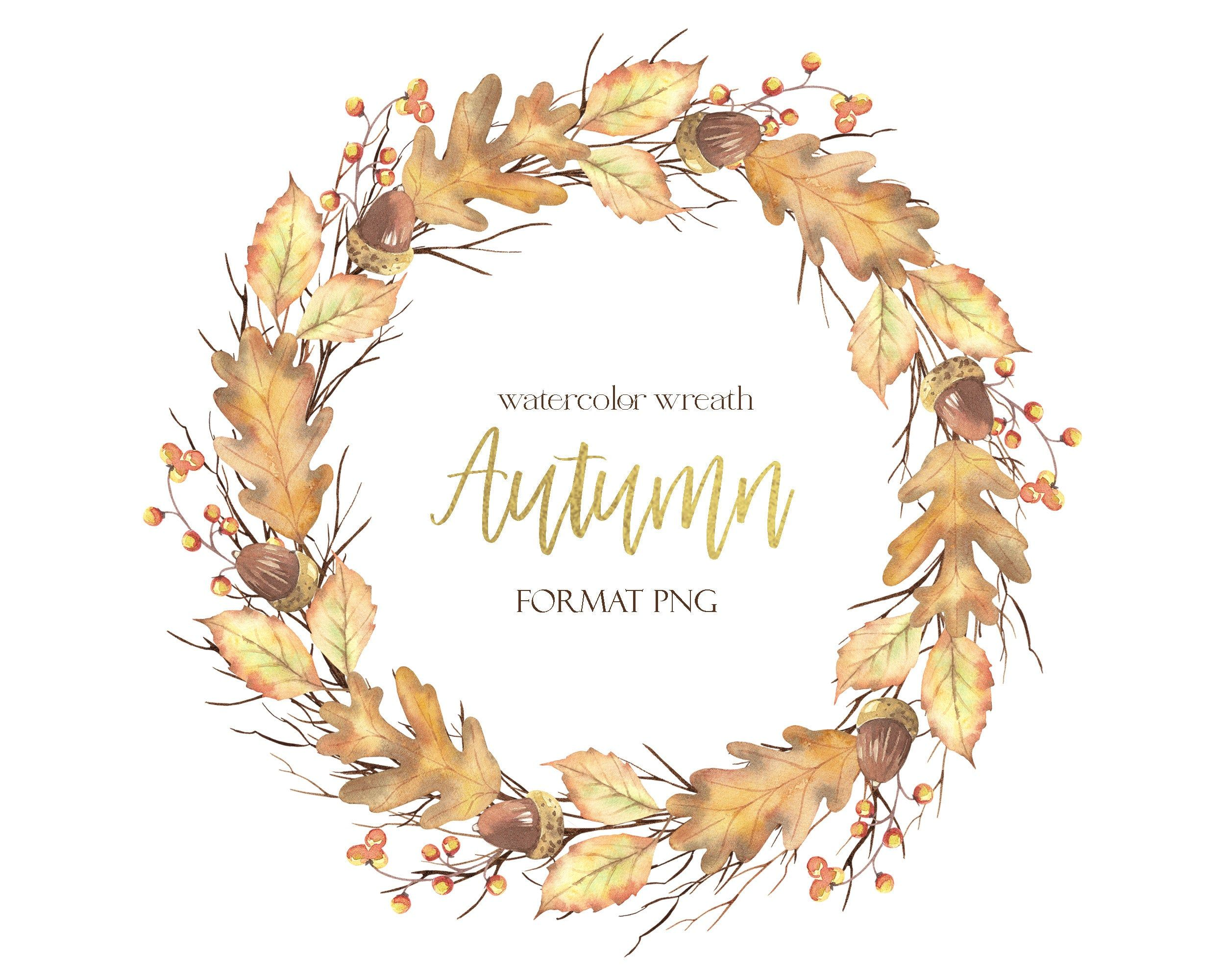 Watercolor Wreath Autumn With Leaves And Berries Acorns Etsy Wreath Watercolor Fall Wreaths Gold Digital Paper