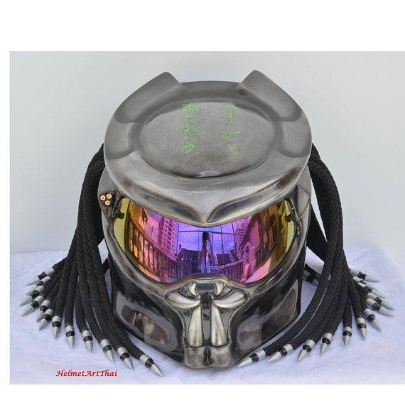 Full time Predator helmet,Custom helmet,Handmade helmet,Airbrushed helmet,Painted helmet,Motorcycle helmet,Casque helmet