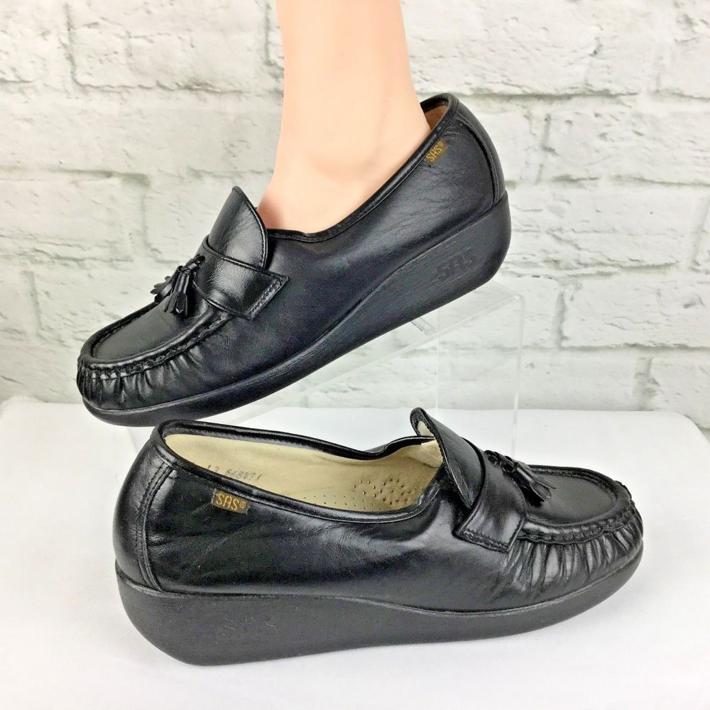 best prices classic style buying cheap SAS Womens Penny Loafers Flats Size 9.5 W Wide Black Tassel ...