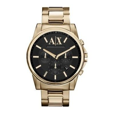 21742031be3 Relógio Armani Exchange Mens Gold Chronograph Bracelet Wat  Relogio   ArmaniExchange