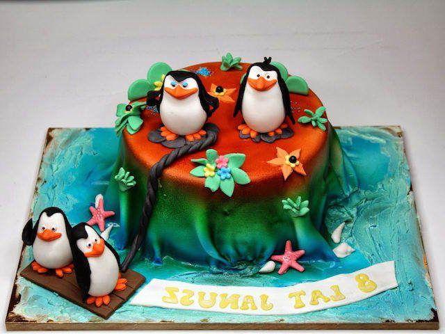 los pinginos de madagascar torta para cumpleaos infantiles