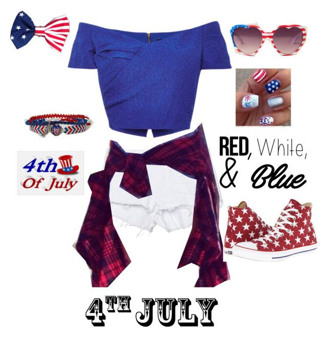 """""""Happy 4th of July"""" by breezyd123 on Polyvore featuring One Teaspoon, Saloni, Converse, redwhiteandblue and july4th"""