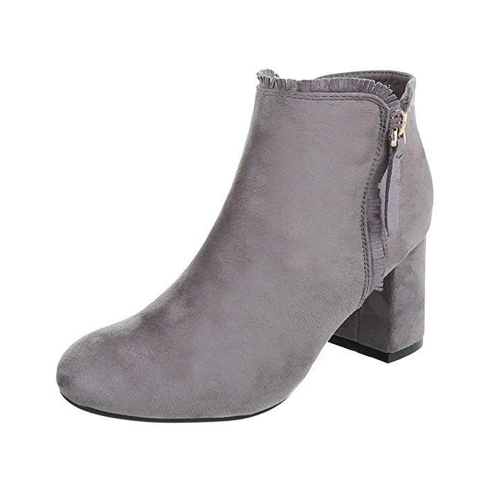 Klassische Stiefeletten Damen Schuhe Schlupfstiefel Pump