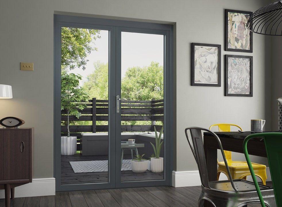 Supreme 1 5m Grey French Doors Double Glazed In 2020 Aluminium French Doors French Doors External French Doors