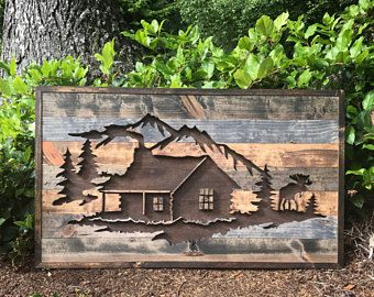 Rustic Mountains and Trees Silhouette Wall Art