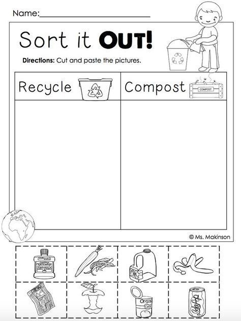 free earth day printables recycling and compost cut and paste download this freebie at. Black Bedroom Furniture Sets. Home Design Ideas