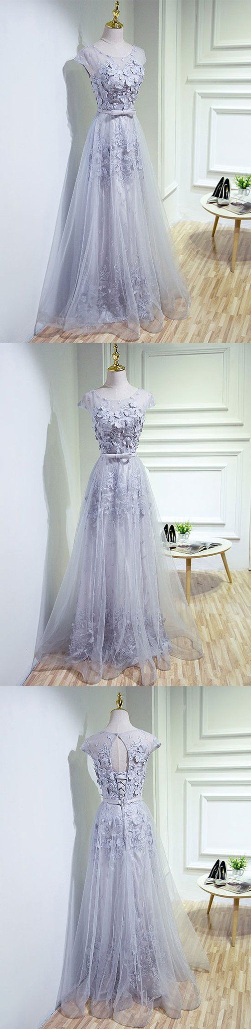 Gray lace tulle long prom dress gray evening dress prom