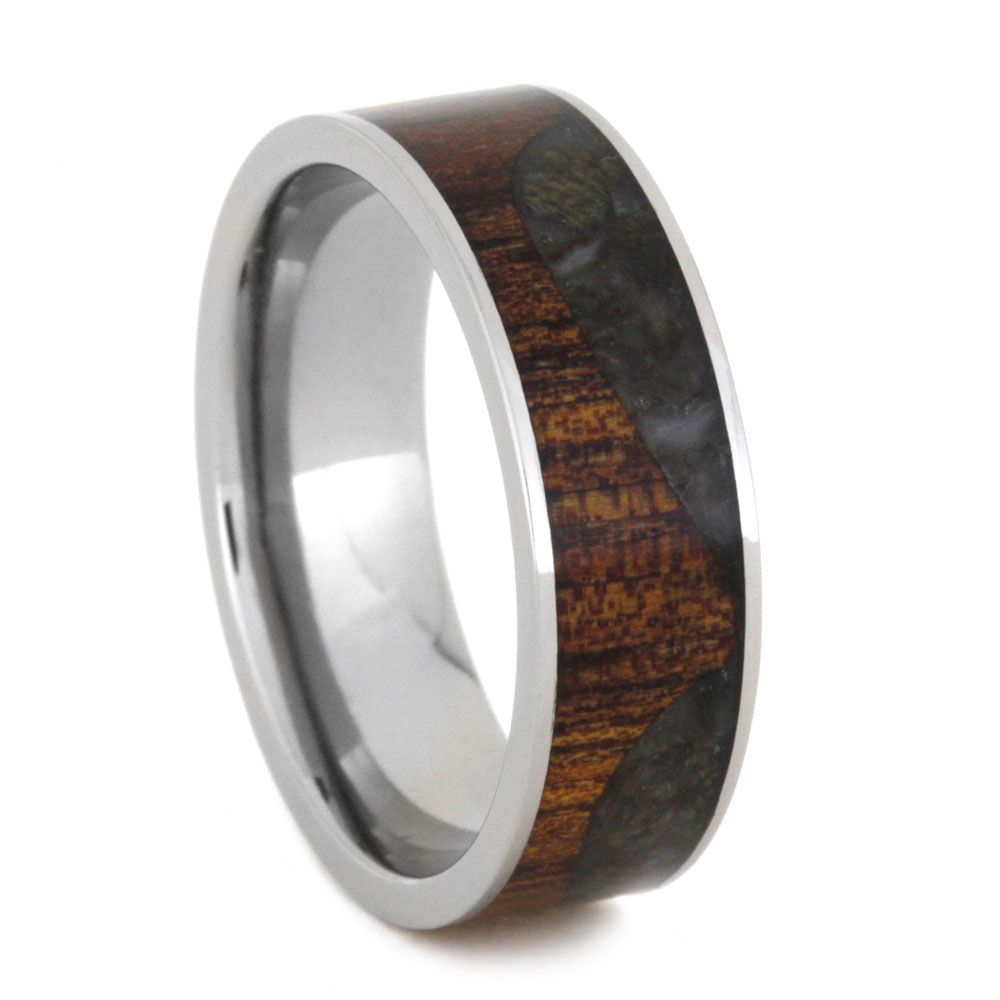 tungsten wedding band bone from stheneboea edges s men the with dark mens green inlay rings dinosaur beveled