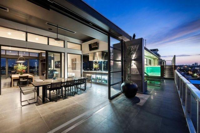 penthouse wohnung-jam architects-räume offen mit dachterrasse, Wohnzimmer dekoo