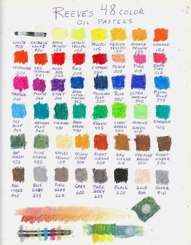 48 Reeves Oil Pastels Nice Soft Texture Viridian Darker Than