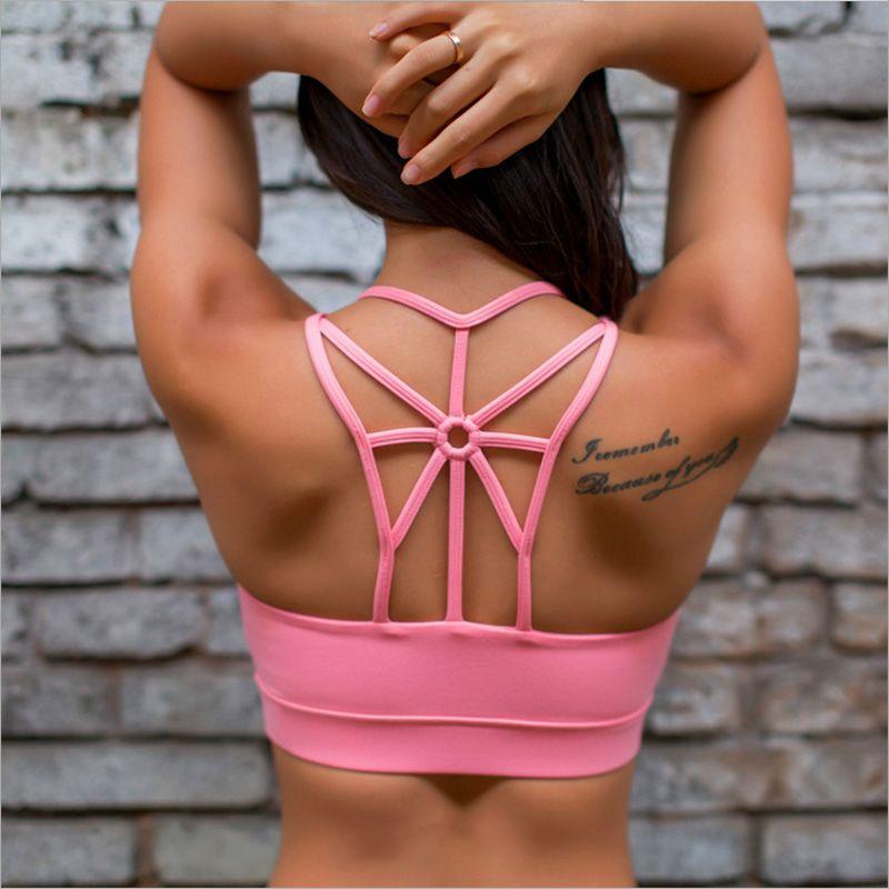 8c280d56f9 Sexy Backless Sports Bra Top Fitness Bras Women Strappy Brassiere Sports  Top Vest Gym Padded Yoga Bra Push up Running Underwear