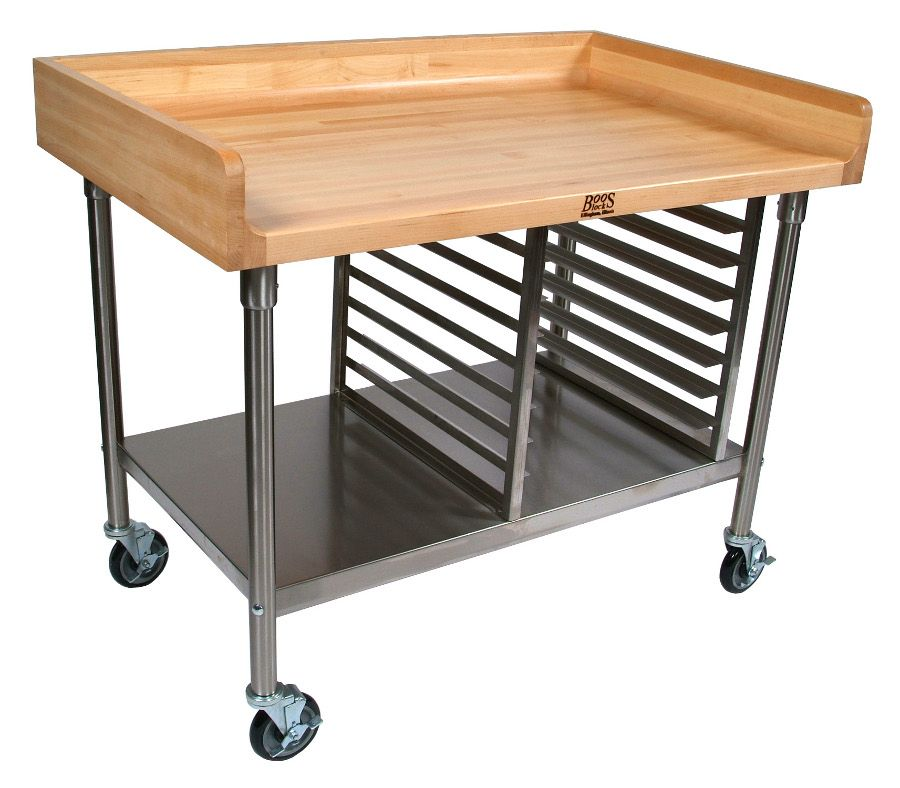 John Boos Baker S Table With Steel Bun Pan Rack Bakers Table Bakery Kitchen Bakers Kitchen