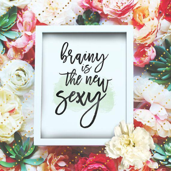 "Brainy is the new sexy - 8x10"" Sherlock Printable Poster - Sherlock BBC Wall Art- Sherlock Quote - Irene Adler - Instant Download"