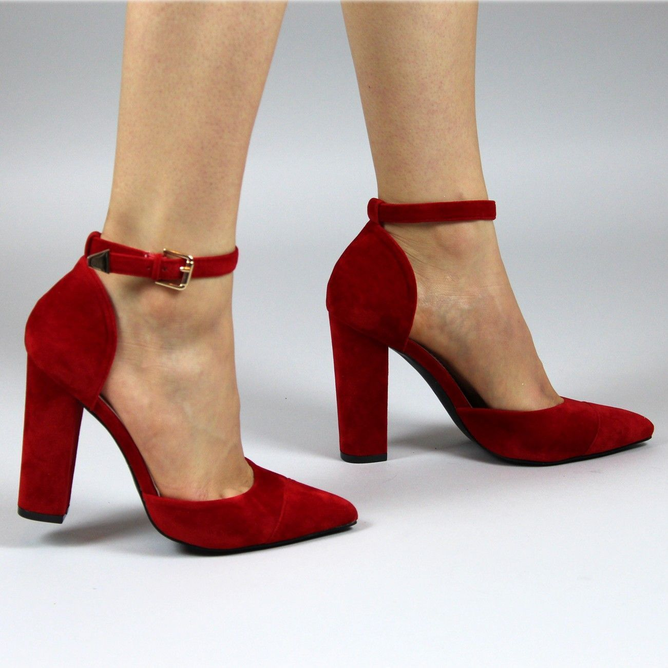 8aaff813812 Sofia Red Suede Block Heel Ankle Strap Pointed Court Shoes ...