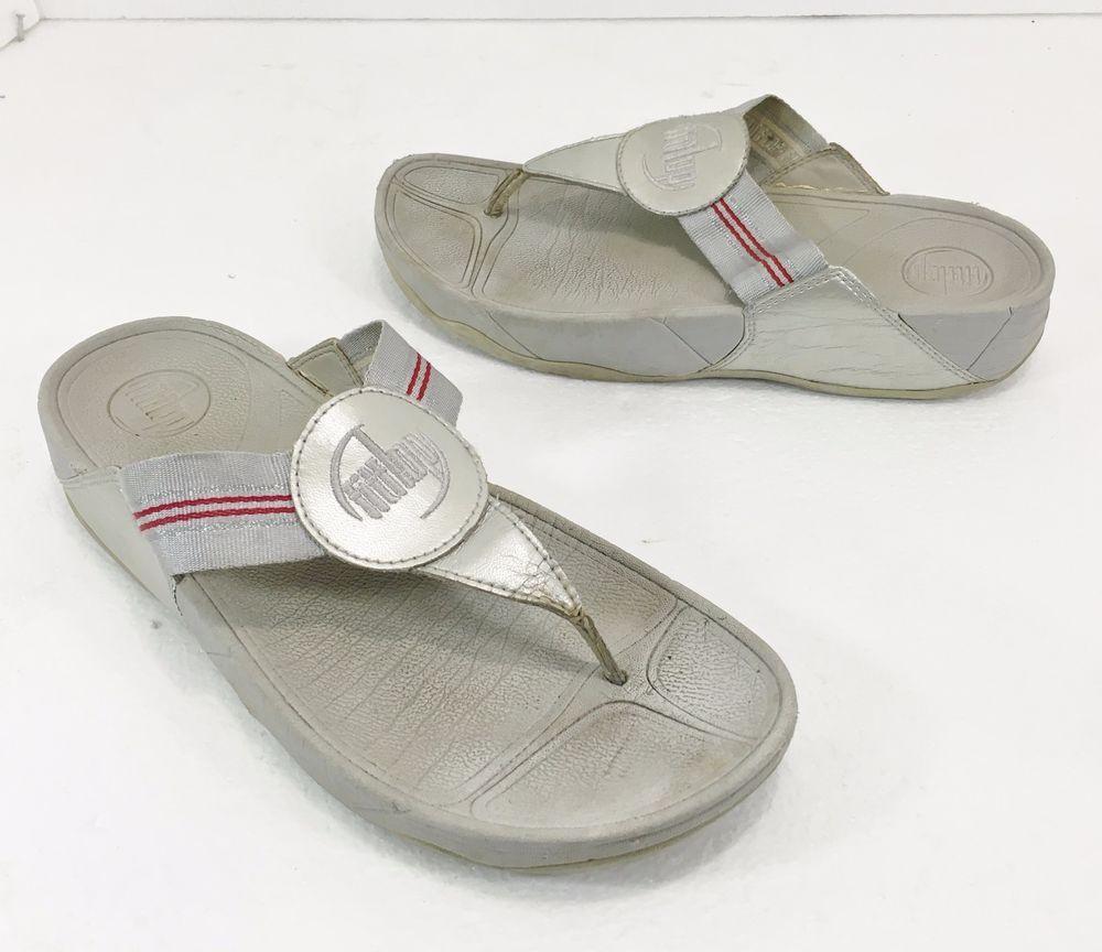 fe6401a1c463 FitFlop Walkstar Silver Gray Red Toning Flip-Flops Sandals Womens 9 US 41EU  7UK  FitFlop  FlipFlops  Casual