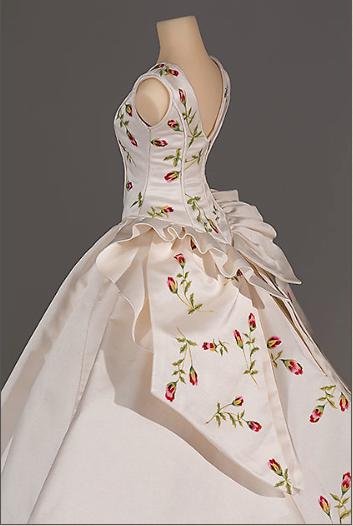 Side view of Susan's miniature wedding dress replica. Photograph by Richard Wilding.