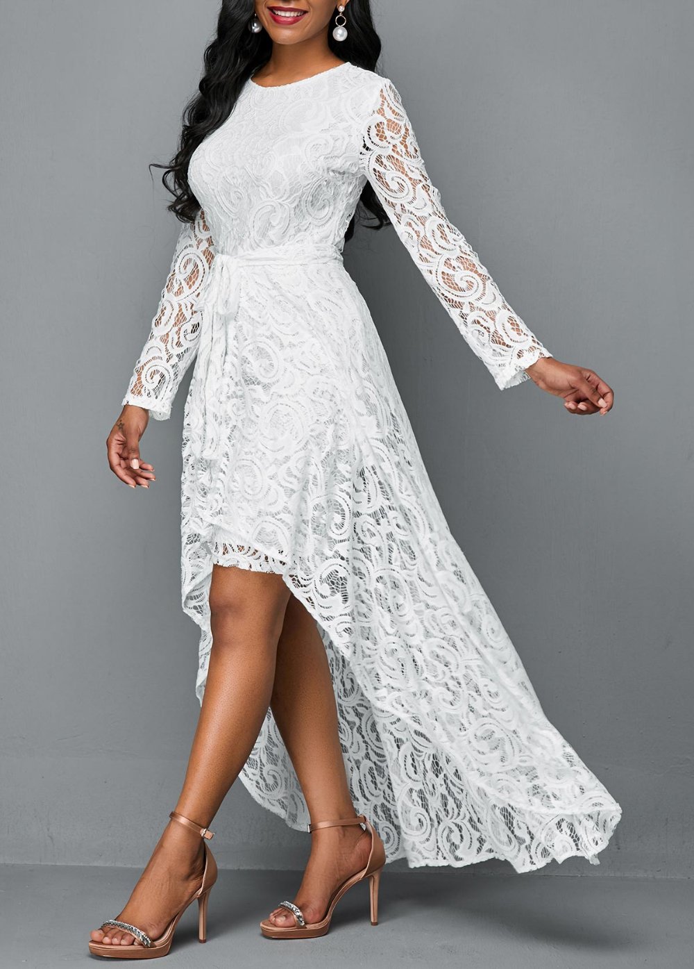 Long Sleeve Lace Dress And High Low Skirt Rosewe Com Usd 37 34 Vestidos De Mujer Trajes De Fiesta Trajes [ 1395 x 1000 Pixel ]