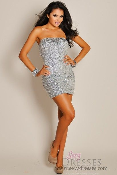 2a66aad5bf Sexy Stardust Silver Sequin Mesh Tube Top Mini Dress