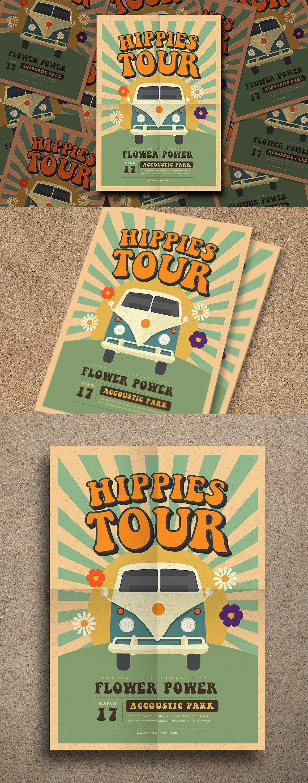Hippies Party Flyer Template Psd Ai Flyer Templates Pinterest