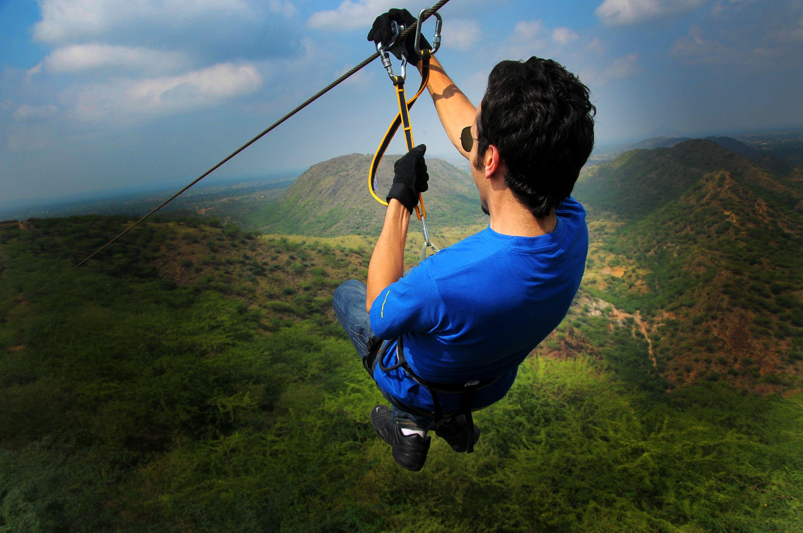 Aerial Zip Lining At Flying Fox Neemrana Flyingfoxzip Flyingfoxneemrana Ziplining One Day Trip Day Trip