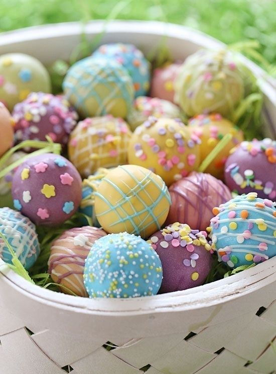 A fun easter dessert idea display them in a basket or give them skinny easter egg cake balls a fun easter dessert idea display them in a basket or give them away as gifts next years dessert negle Gallery