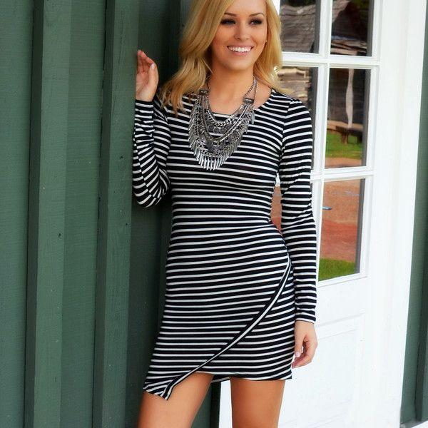 Chic Horizontal Stripe Asymmetric Hem Long Sleeve Mini Dress black l Online  Shopping | Tomtop