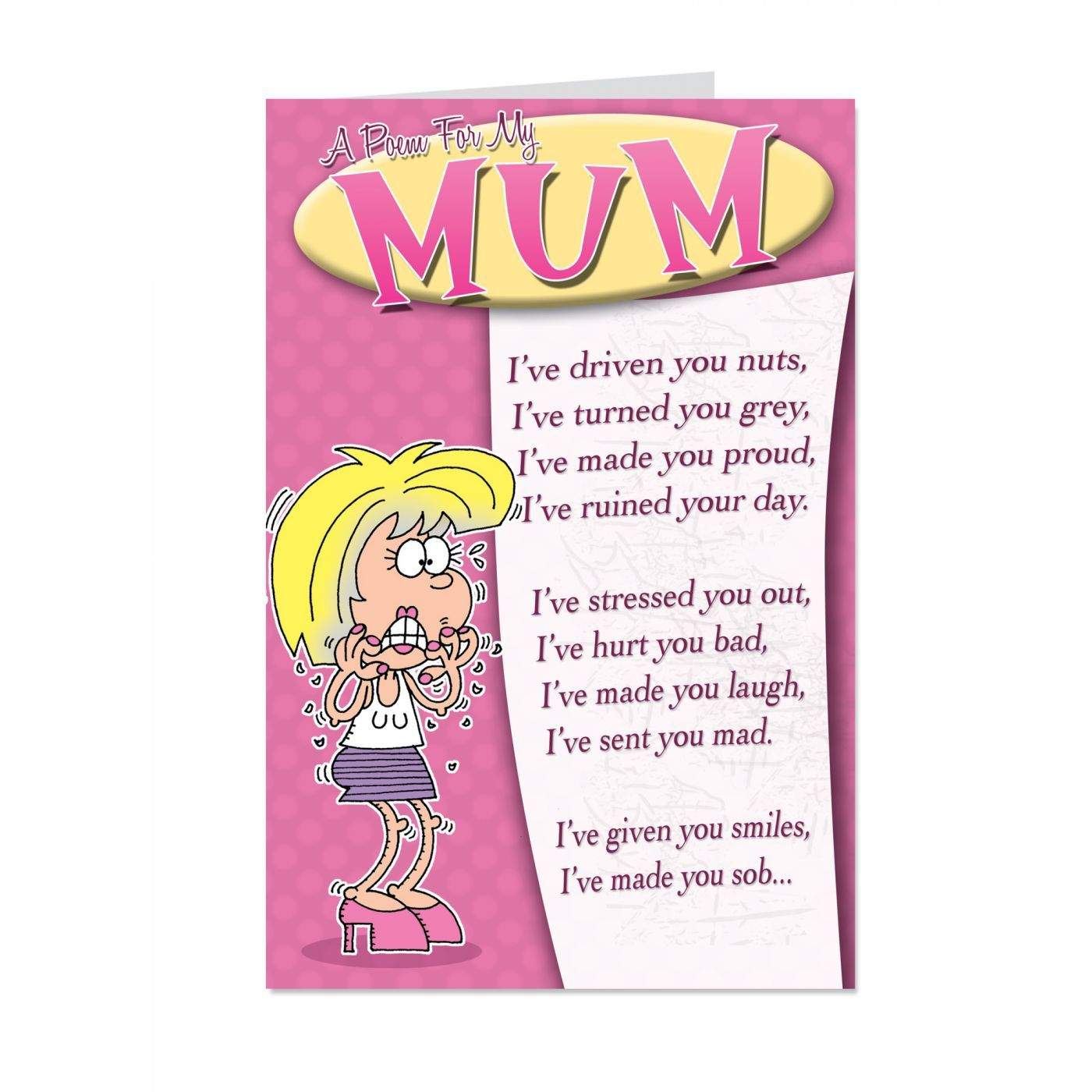 Poem For Mum Nuts Mothers Day Card