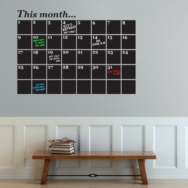 chalkboard wall sticker uk, monthly planner and organiser perfect