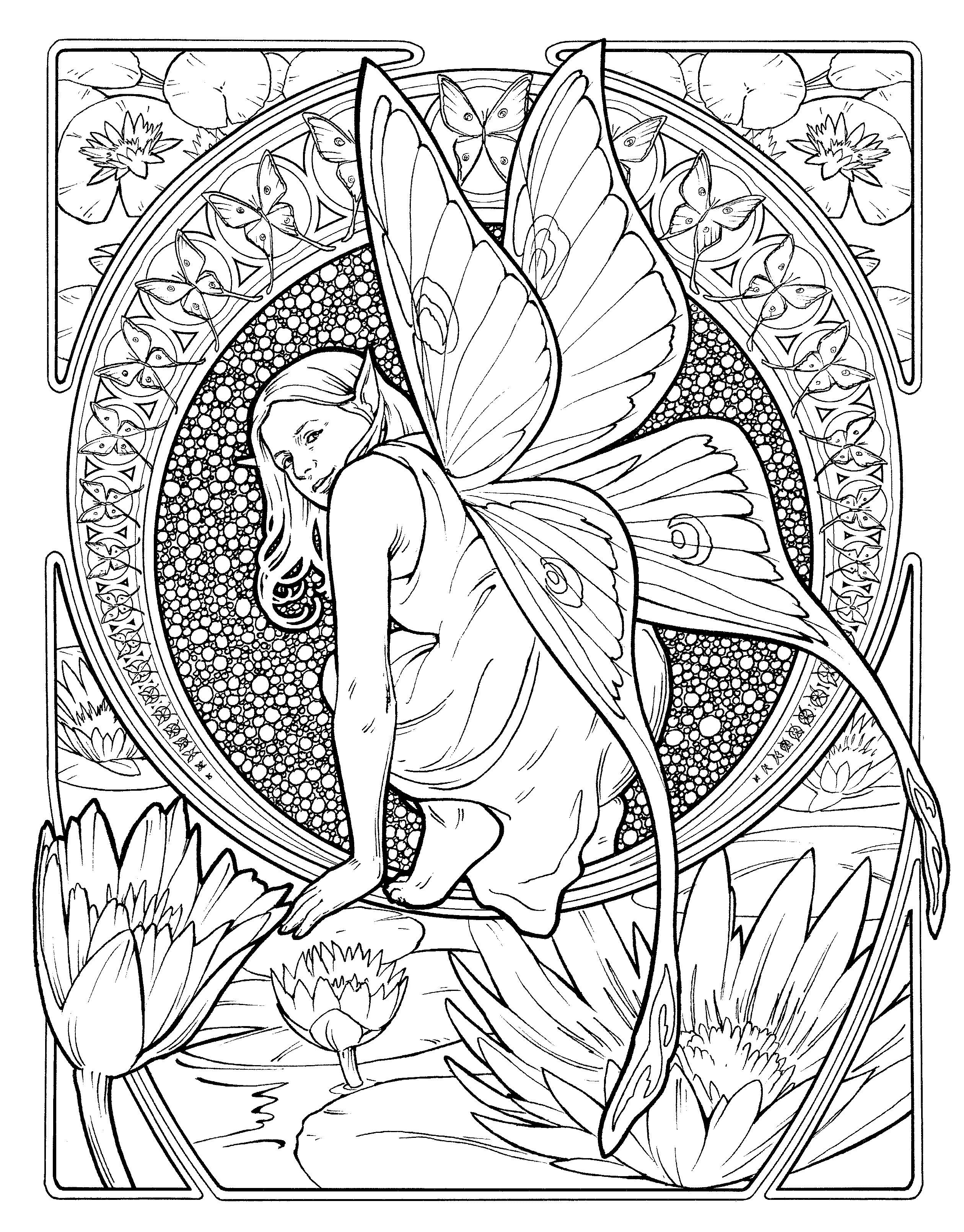 Art Nouveau butterfly fairy coloring page | templates fantasy ...