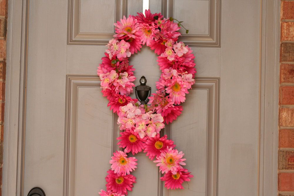 Pink Ribbon Breast Cancer Awareness Wreath