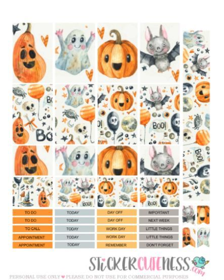 Free Printable Crazy Halloween Planner Stickers from StickerCuteness ...