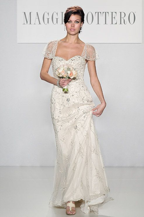 I love a beaded cap sleeve [ Maggie Sottero, Spring 2014